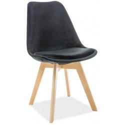 Jídelní čalouněná židle DIOR VELVET černá/buk