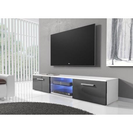 TV stolek RTV 03 s LED bílá/šedý lesk