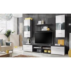 **Obývací stěna GEBO šedá/bílý lesk