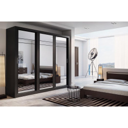 Šatní skříň 02 ARTI 250 černá zrcadlo