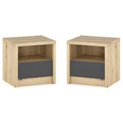 Noční stolek 2 ks DOMINKA dub artisan/šedý