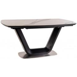 Jídelní stůl rozkládací 160x90 ARMANI ceramic bílý mramor/černý mat