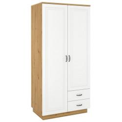 Šatní skříň 2D2S FEDERICO dub artisan/bílá
