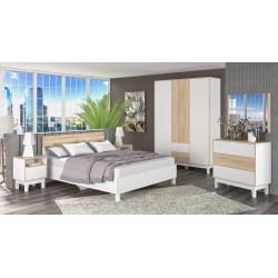 Sestava do ložnice PATRICIA bílá/sonoma (postel 160, 2x NS, komoda, skříň)