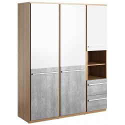 Šatní skříň FLAMY 01 3D2S dub nash/šedá/bílá