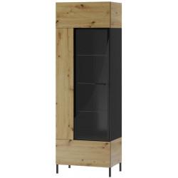 Vitrína LUCAS 10 1-dveřová, dub artisan/černá mat