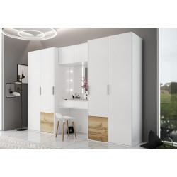 Šatní skříň SIENA 300 s toaletním stolkem bílá/dub grand