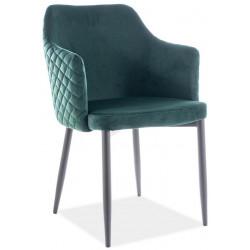 Jídelní čalouněná židle ASTOR velvet zelená/černá