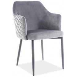 Jídelní čalouněná židle ASTOR velvet šedá/černá